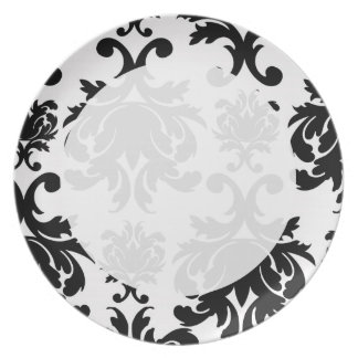ornate formal black white damask dinner plate