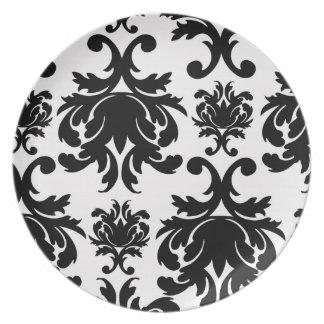 ornate formal black white damask dinner plates