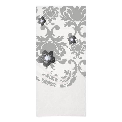 ornate formal black white damask personalized rack card