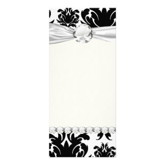ornate formal black white damask rack card design