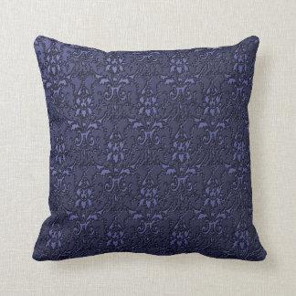 Ornate Formal Navy Blue Damask Pillow