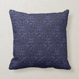 Ornate Formal Navy Blue Damask Pillow