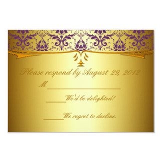 Ornate Formal Purple Gold Damask RSVP Cards