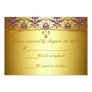 Ornate Formal Purple Gold Damask RSVP Cards