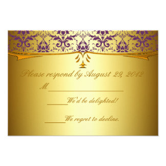 Ornate Formal Purple Gold Damask RSVP Cards Custom Invite