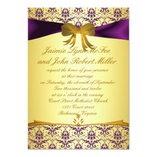 Ornate Formal Purple Gold Damask Wedding Invitatio 5x7 Paper Invitation Card