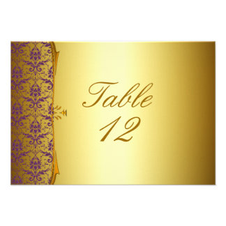 Ornate Formal Purple Gold Place Cards Custom Invite