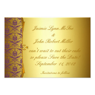 Ornate Formal Purple Gold Save the Date Cards Announcements
