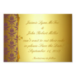"Ornate Formal Purple Gold Save the Date Cards 3.5"" X 5"" Invitation Card"