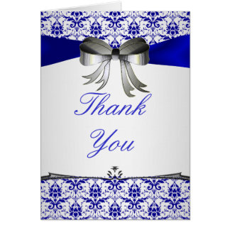 ornate Formal Silver Blue Damask Thank You cards