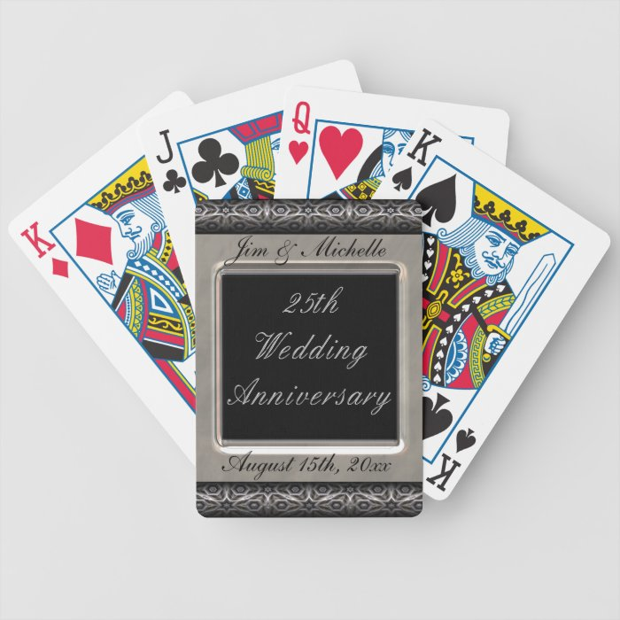 Ornate Frame 25th Wedding Anniversary Bicycle Playing Cards