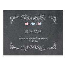 Ornate Frame + Chalkboard Wedding RSVP (4.25x5.6) Post Card