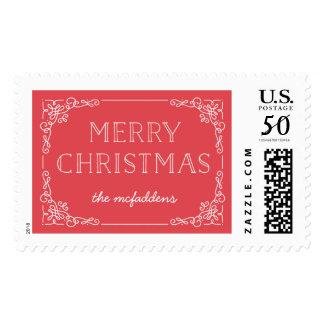 Ornate Frame Christmas Postage Stamp - Holly