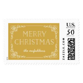 Ornate Frame Christmas Postage Stamp - Marigold