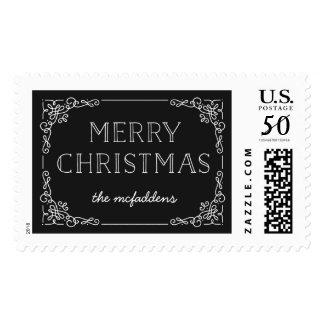 Ornate Frame Christmas Postage Stamp - Onyx