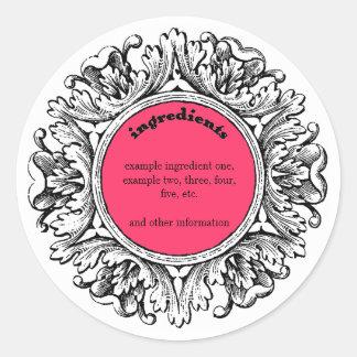 Ornate Frame Handmade Soap Ingredients Label Classic Round Sticker