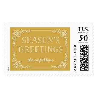 Ornate Frame Holiday Postage Stamp - Marigold