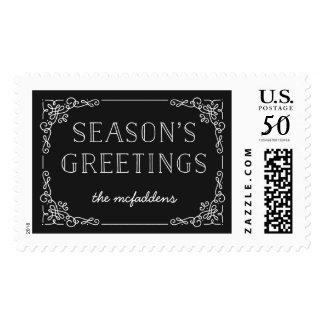 Ornate Frame Holiday Postage Stamp - Onyx
