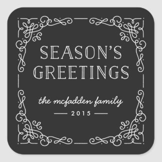 Ornate Frame Holiday Sticker - Onyx
