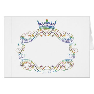 Ornate  Frame Medallion with Crown Greeting Cards