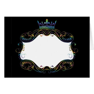 Ornate  Frame Medallion with Crown Greeting Card
