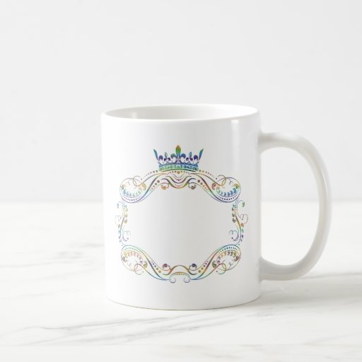 Ornate  Frame Medallion with Crown Coffee Mugs