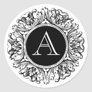 Ornate Frame Monogrammed Seal, Black & White Classic Round Sticker