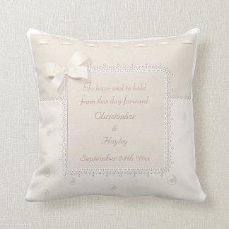 Ornate Frame, Pearls & Ribbon Beautiful Wedding Throw Pillow