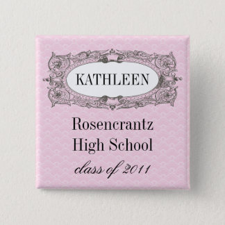 Ornate Frame Pink Graduation Pinback Button