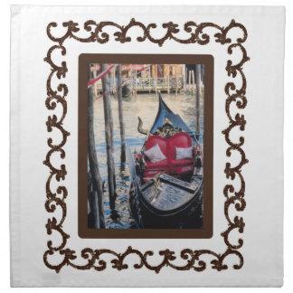 Ornate Framed Gondola in Venezia Cloth Napkin