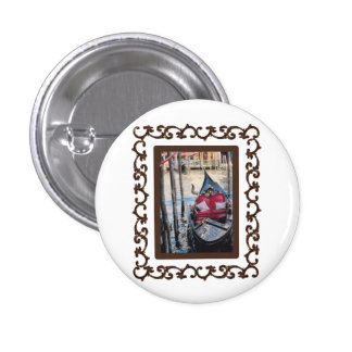 Ornate Framed Gondola in Venezia Pinback Button