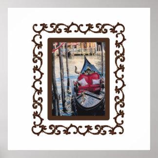Ornate Framed Gondola in Venezia Poster