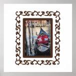 Ornate Framed Gondola in Venezia Posters