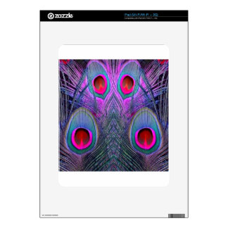 Ornate Fuchsia-Purple  Peacock Feathers GIFTS Decals For iPad