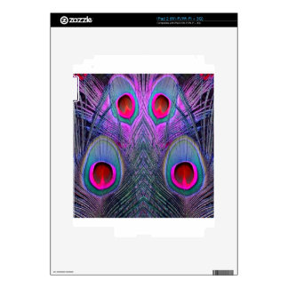 Ornate Fuchsia-Purple  Peacock Feathers GIFTS Decals For The iPad 2