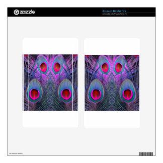 Ornate Fuchsia-Purple  Peacock Feathers GIFTS Skin For Kindle Fire