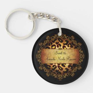 Ornate Girly Sweet 16 Leopard Print Key Chain Acrylic Key Chains
