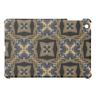 Ornate gold and blue kaleidoscope case for the iPad mini