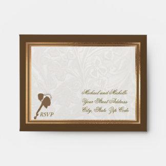 Ornate Gold and Loving Couple RSVP Card Envelope