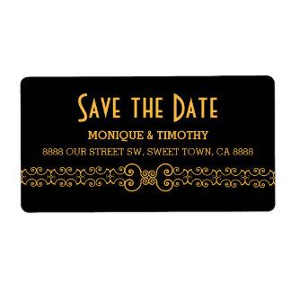 Ornate Gold Belt - Gold Black Save the Date Label