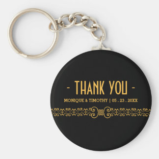 Ornate Gold Belt - Gold Black Wedding Thank You Keychain