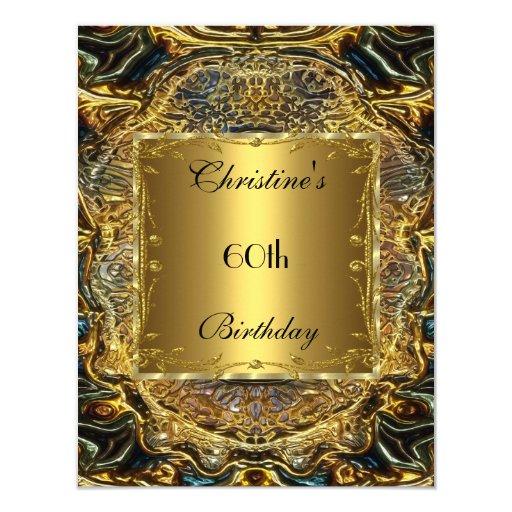 Ornate Gold Black 60th Birthday Elegant Invite 3