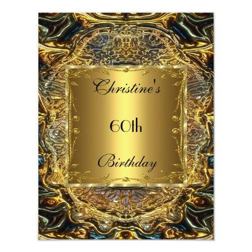 Ornate Gold Black 60th Birthday Elegant Invite 3 Invite