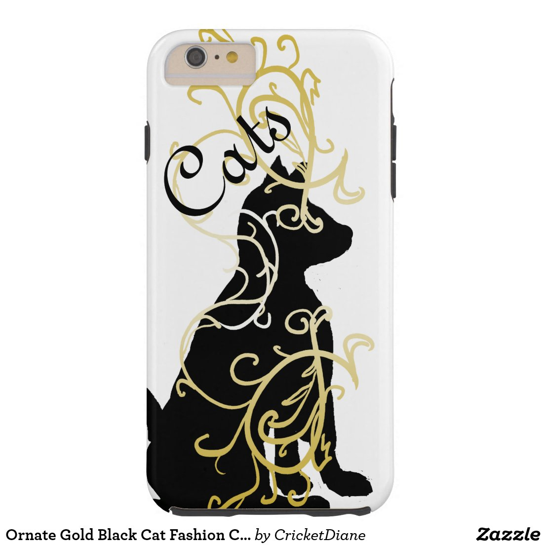 Ornate Gold Black Cat Fashion CricketDiane Tough iPhone 6 Plus Case