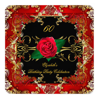 Ornate Gold Black Red Roses 60th Birthday Party 2 Invitation