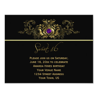 Ornate Gold Black Swirls Purple Jewel Sweet 16 Card