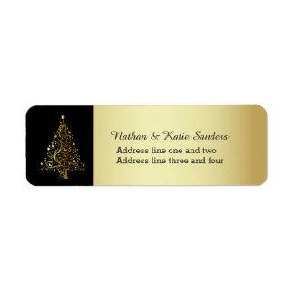Ornate Gold Christmas Tree Label