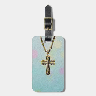 Ornate Gold Cross and Chain Bag Tag