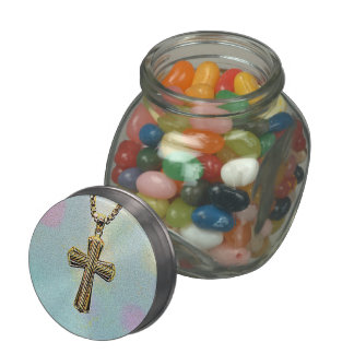 Ornate Gold Cross and Chain Jelly Belly Candy Jar