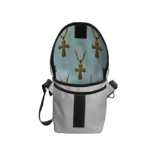 Ornate Gold Cross and Chain Courier Bag